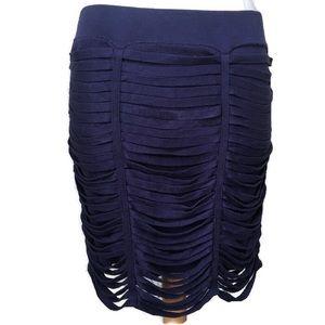 BCBG Navysea Ribbon Knit Mini Skirt